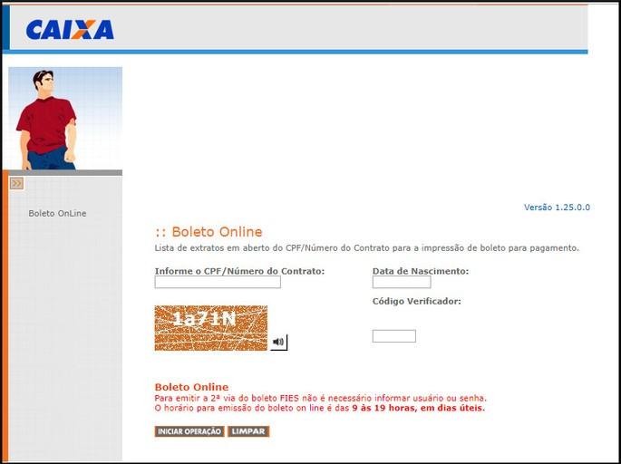 Captura da tela do site do boleto FIES