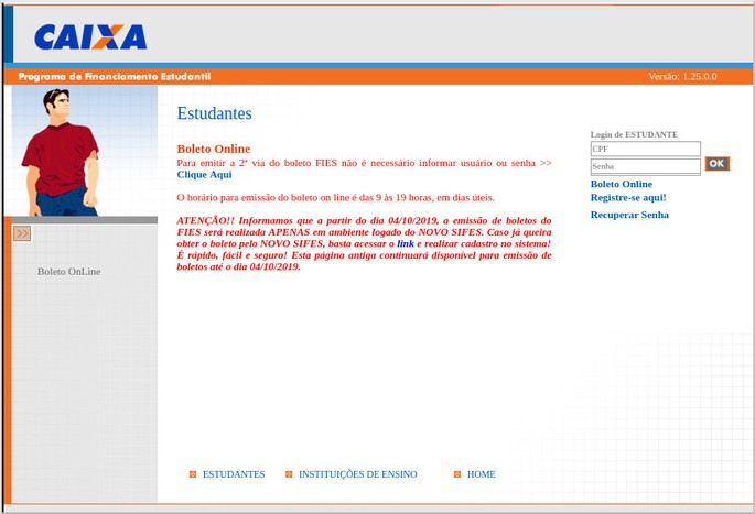 Esta é a tela de acesso do estudante ao boleto FIES