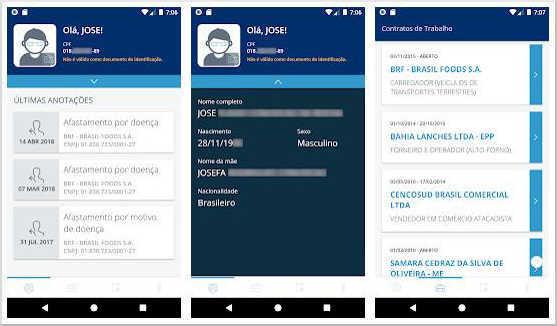 Tela do aplicativo carteira de trabalho digital - Opções