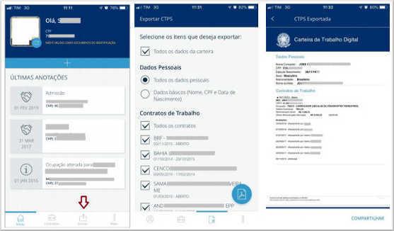 Tela do aplicativo carteira de trabalho digital - Exportar