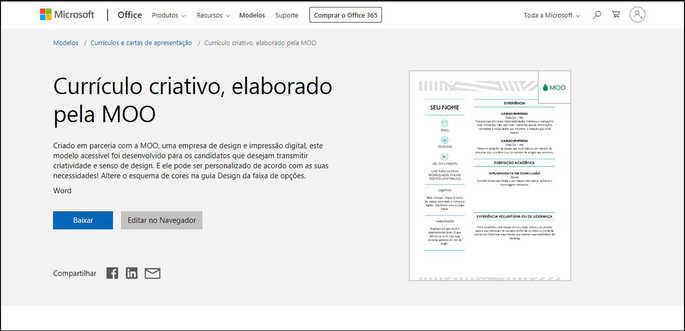 Modelo de currículo criativo elaborado pela MOO