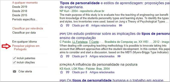 Resultados apenas em português
